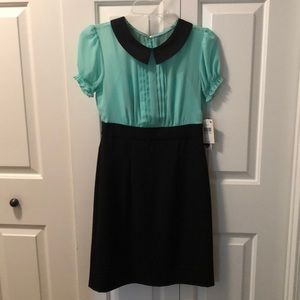 Black and teal dress.